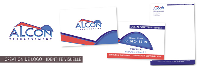 Création de l'identité visuelle Alcon Terrassement, logo, cartes