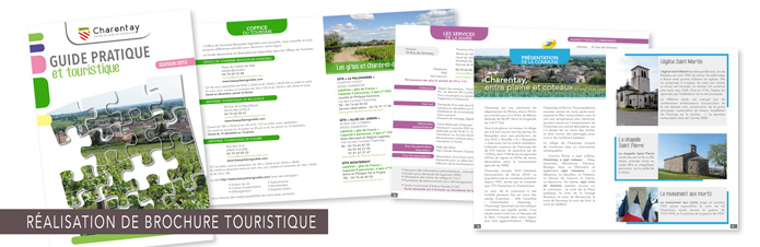 Réalisation graphique de la brochure Guide Pratique et touristique Charentay