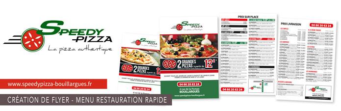 Créations des flyers Speedy Pizza, Menu restauration rapide, tarifs