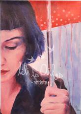 acrylique sur toile, Audrey sous la pluie