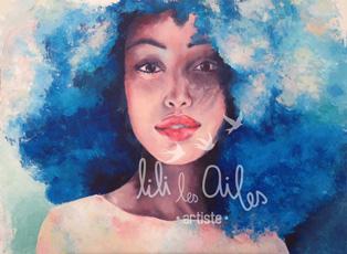 peinture sur toile - portrait affro acrylique