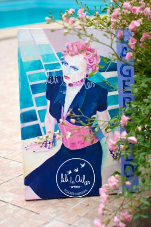Acrylique sur toile - portrait mode - lagerfeld
