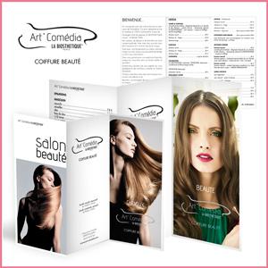 Création logo et dépliants, tarifs, coiffure et beauté
