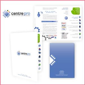 Création graphique de la plaquette Centre Pro, solutions informatiques et bureautique