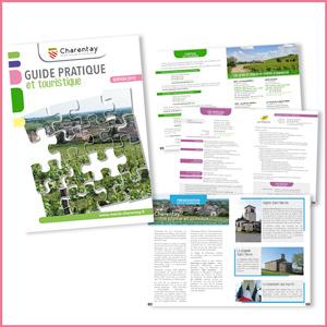 brochure guide touristique Charentay, graphisme, mise en page