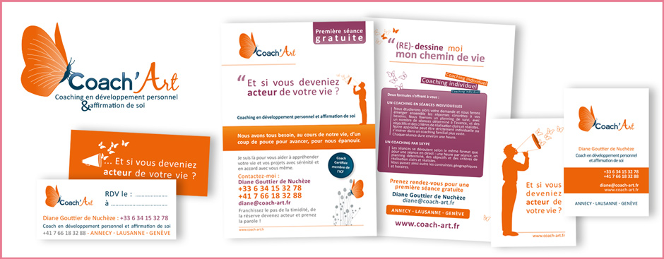 Maquette Coach'Art flyers, cartes de visite