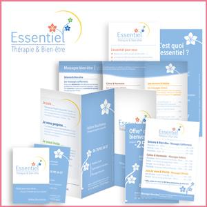 Création de l'identité visuelle Essentiel, bien-être, dépliants, logo, cartes, flyers, créations graphiques