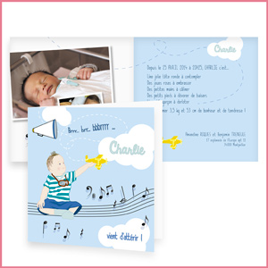 illustration faire-part de naissance, bébé, baby born, avion, musique