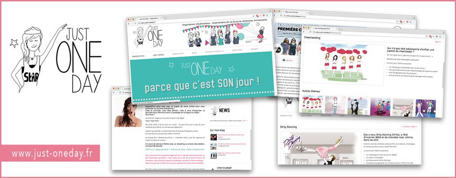 Réalisation du site just-oneday.fr, bannières, logo, créations graphiques, mise en page, website