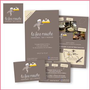 Création de l'identité visuelle La Fine Mouche, Bar à fromage, logo, cartes, flyers