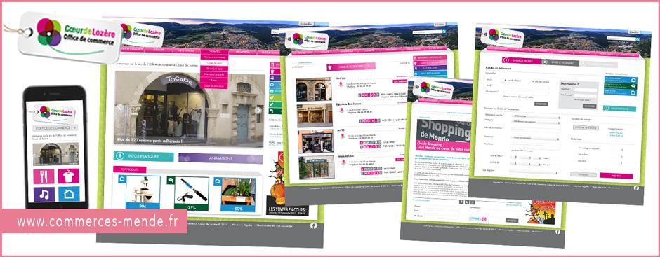 Créations graphiques du webdesign commerces-mende.fr, ergonomie, arborescence