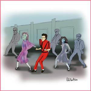 Illustrations Mickael Jackson, danse, thriller, Moonwalk
