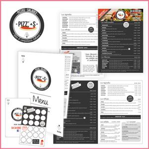 Création de l'identité visuelle Pizz'As, logo, flyer, menus, depliants